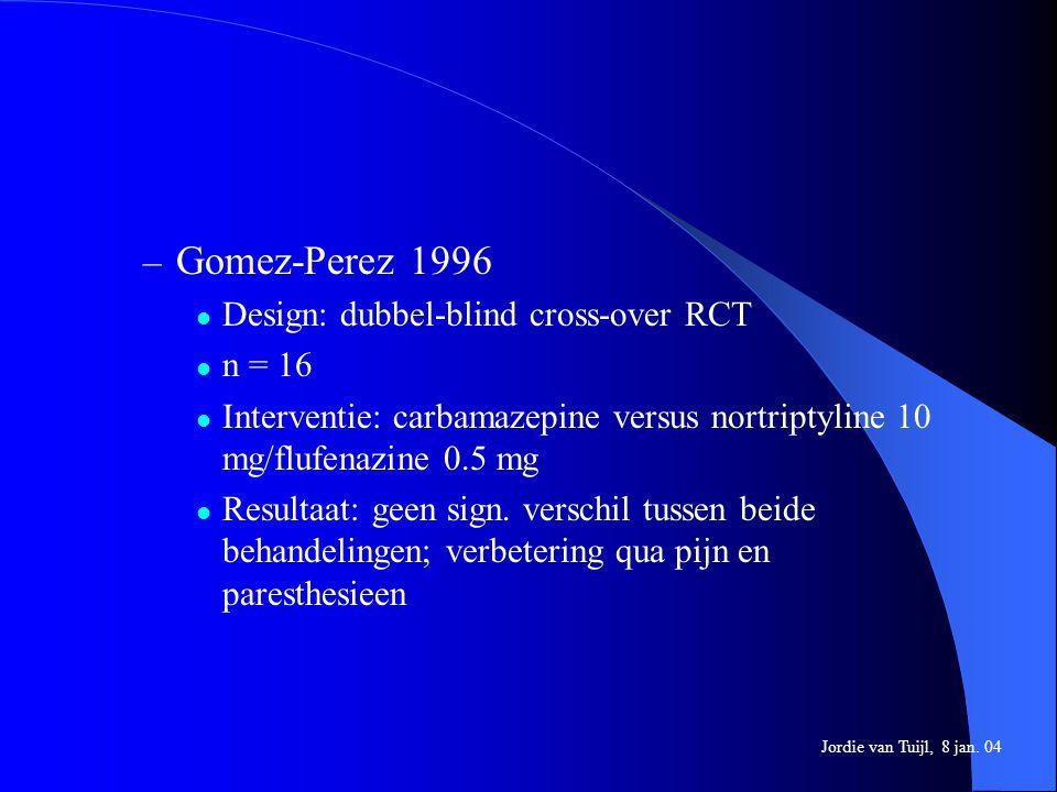 – Gomez-Perez 1996 Design: dubbel-blind cross-over RCT n = 16 Interventie: carbamazepine versus nortriptyline 10 mg/flufenazine 0.5 mg Resultaat: geen