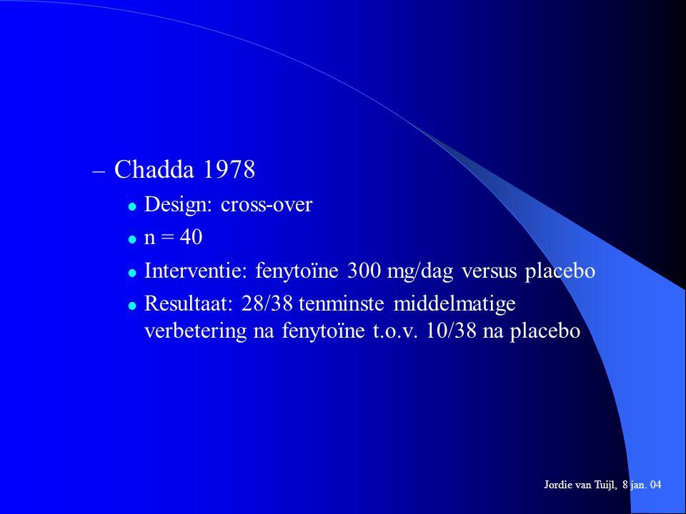 – Chadda 1978 Design: cross-over n = 40 Interventie: fenytoïne 300 mg/dag versus placebo Resultaat: 28/38 tenminste middelmatige verbetering na fenyto