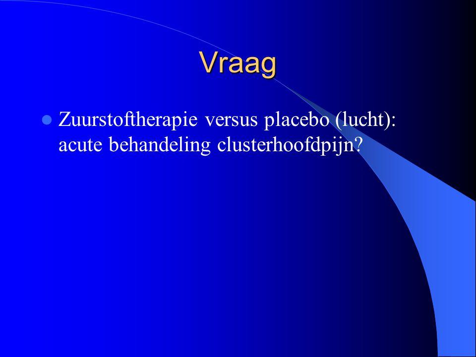 Vraag Zuurstoftherapie versus placebo (lucht): acute behandeling clusterhoofdpijn?