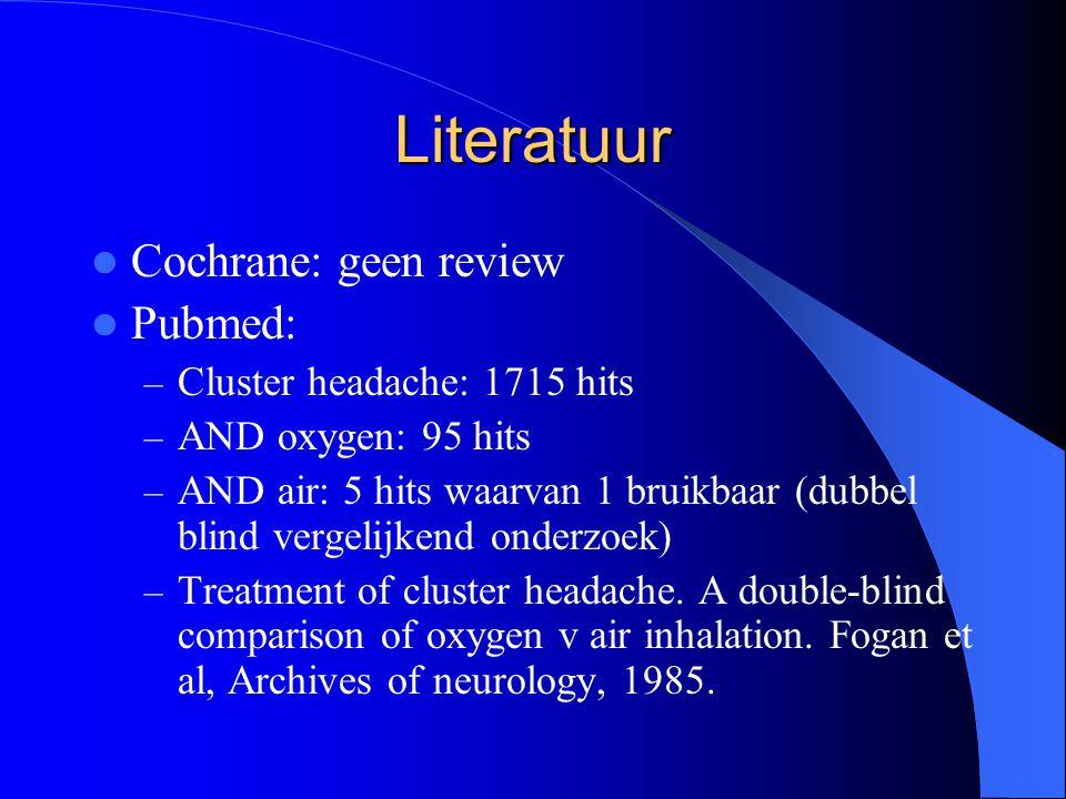 Literatuur Cochrane: geen review Pubmed: – Cluster headache: 1715 hits – AND oxygen: 95 hits – AND air: 5 hits waarvan 1 bruikbaar (dubbel blind vergelijkend onderzoek) – Treatment of cluster headache.