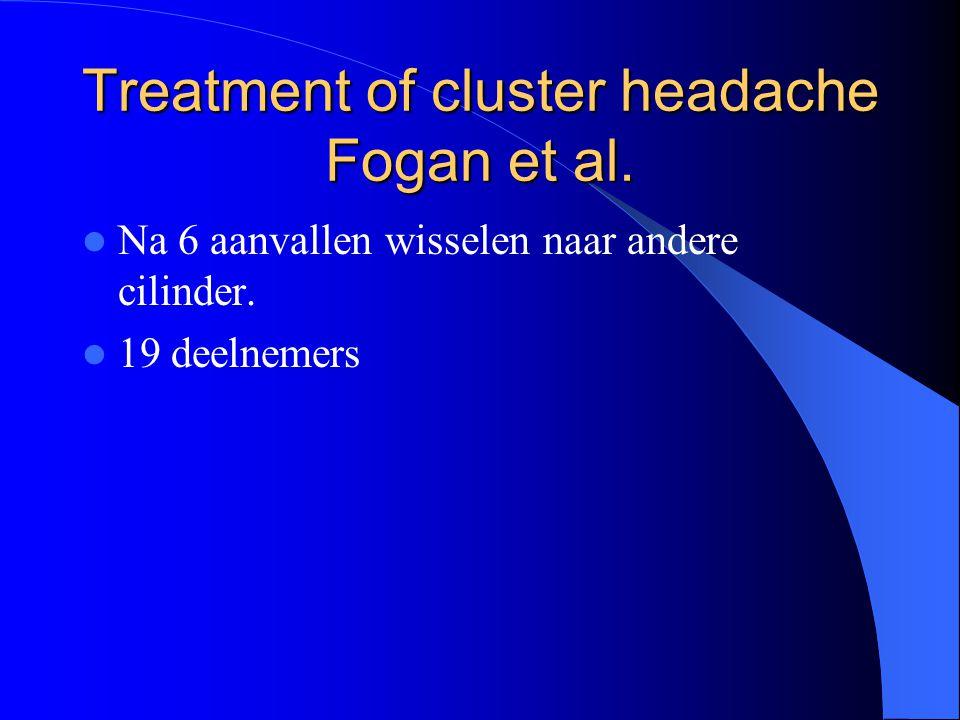 Treatment of cluster headache Fogan et al.Na 6 aanvallen wisselen naar andere cilinder.