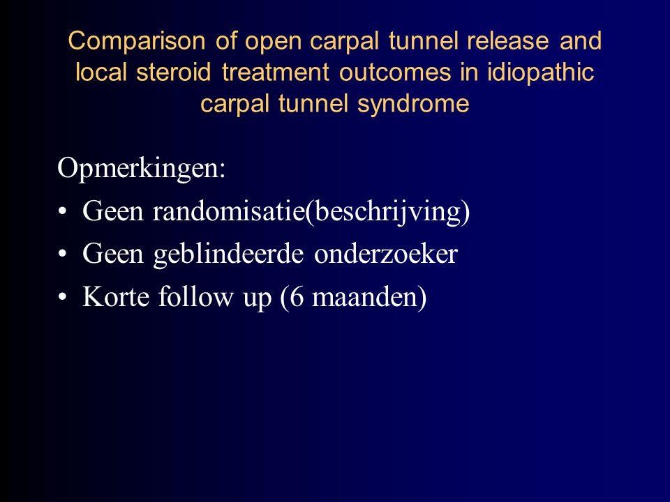 Opmerkingen: Geen randomisatie(beschrijving) Geen geblindeerde onderzoeker Korte follow up (6 maanden) Comparison of open carpal tunnel release and local steroid treatment outcomes in idiopathic carpal tunnel syndrome