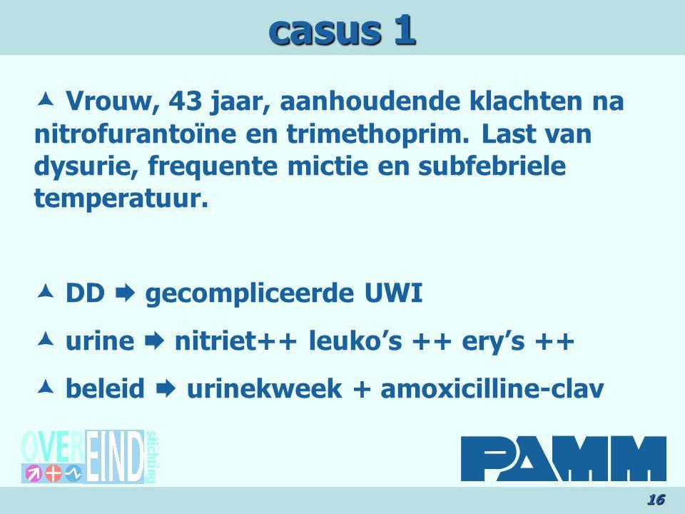 casus 1 16  Vrouw, 43 jaar, aanhoudende klachten na nitrofurantoïne en trimethoprim.