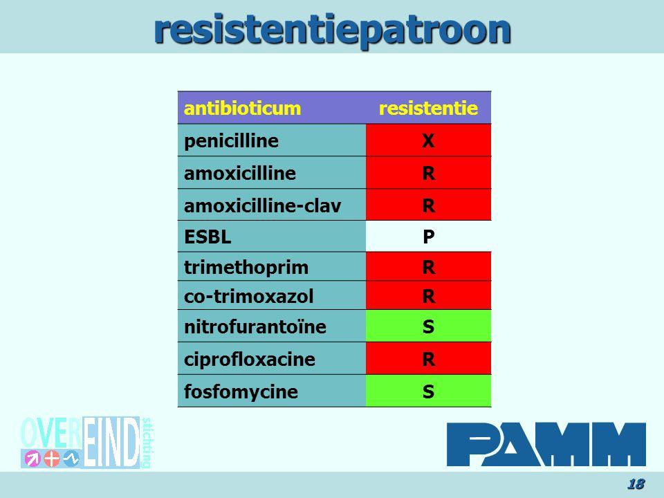 resistentiepatroon18 antibioticumresistentie penicillineX amoxicillineR amoxicilline-clavR ESBLP trimethoprimR co-trimoxazolR nitrofurantoïneS ciprofloxacineR fosfomycineS