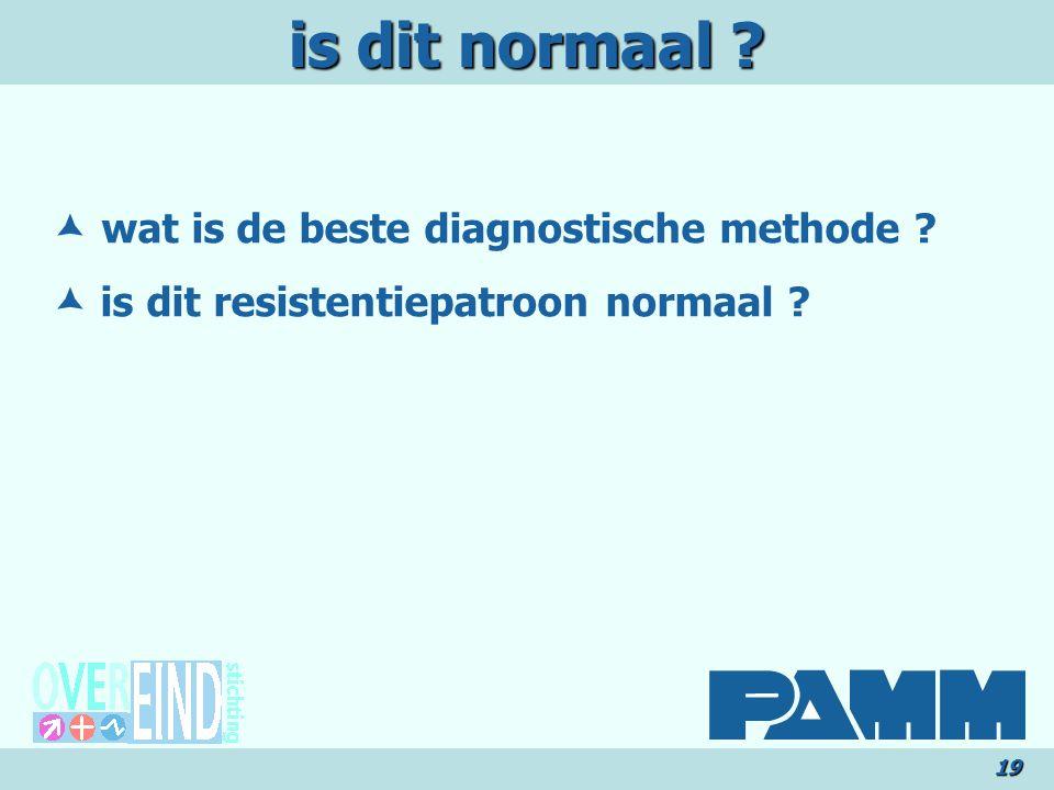 is dit normaal ? 19  wat is de beste diagnostische methode ?  is dit resistentiepatroon normaal ?