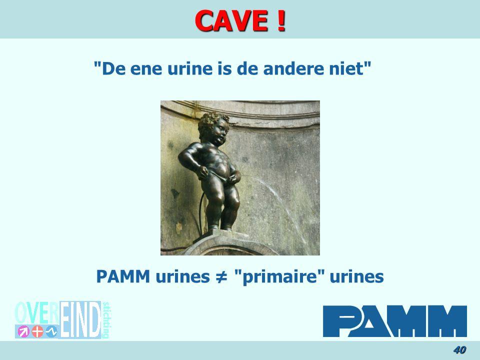 CAVE ! 40 PAMM urines ≠ primaire urines De ene urine is de andere niet