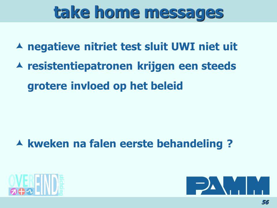 take home messages 56  negatieve nitriet test sluit UWI niet uit  resistentiepatronen krijgen een steeds grotere invloed op het beleid  kweken na falen eerste behandeling ?