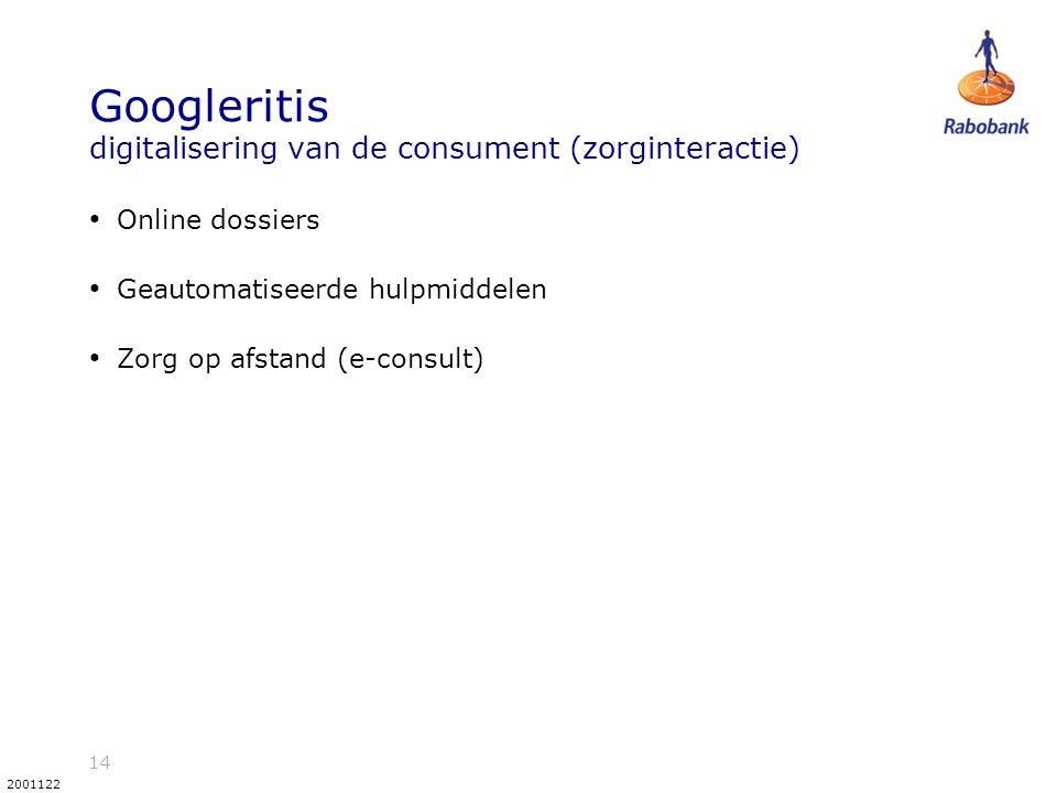 14 2001122 Googleritis digitalisering van de consument (zorginteractie) Online dossiers Geautomatiseerde hulpmiddelen Zorg op afstand (e-consult)