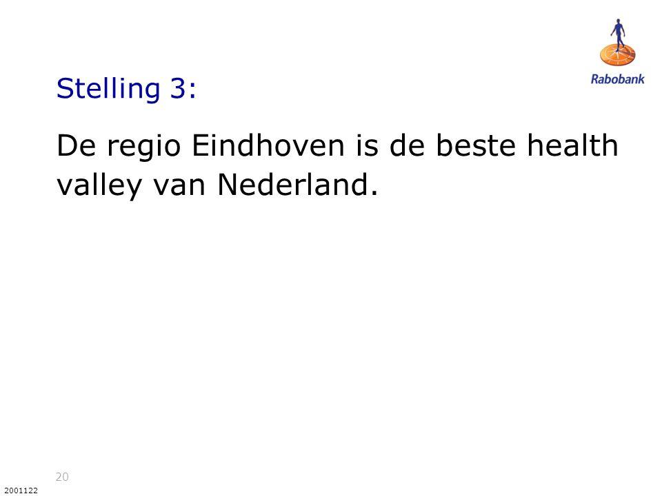 20 2001122 Stelling 3: De regio Eindhoven is de beste health valley van Nederland.
