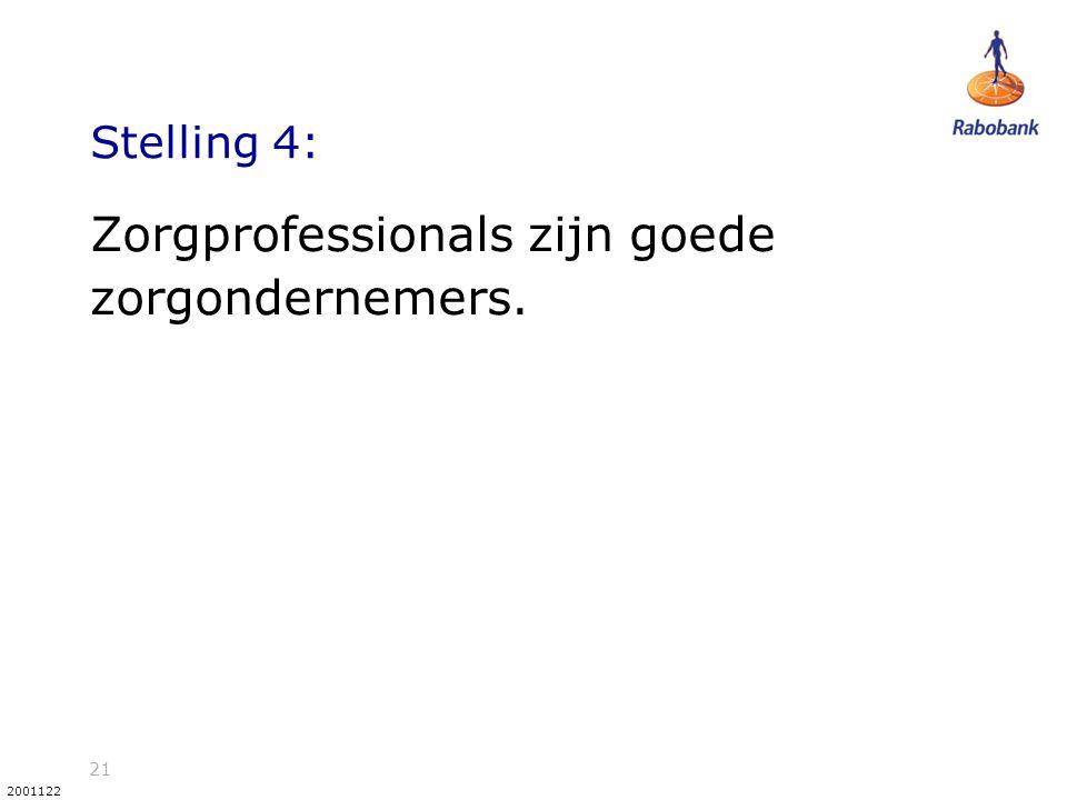 21 2001122 Stelling 4: Zorgprofessionals zijn goede zorgondernemers.