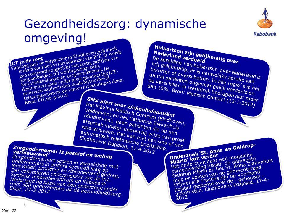 17 2001122 De rekening graag meer vraag, meer kosten Stijging kosten zorg > ontwikkeing BBP Verhoging arbeidsproductiviteit in zorg lastig (Baumol-effect) Wat levert de zorg op voor Nederland.