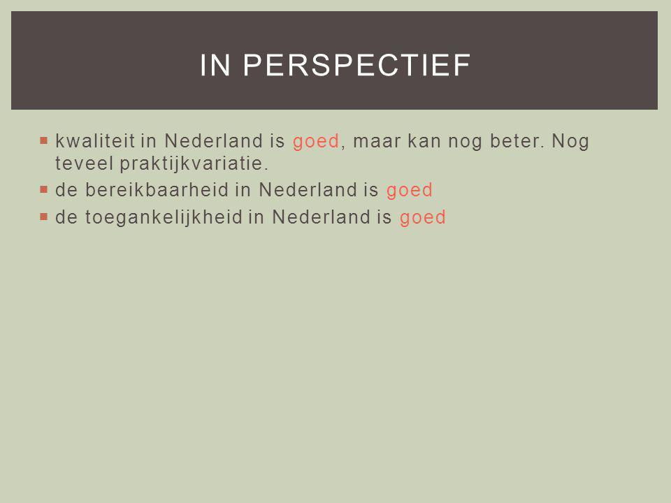  kwaliteit in Nederland is goed, maar kan nog beter.