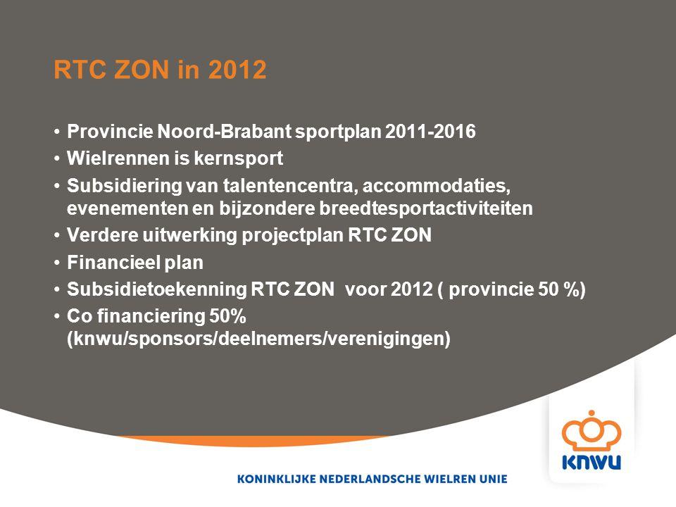 RTC ZON in 2012 Provincie Noord-Brabant sportplan 2011-2016 Wielrennen is kernsport Subsidiering van talentencentra, accommodaties, evenementen en bij