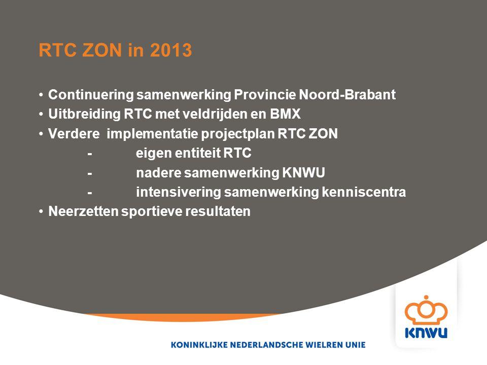 RTC ZON in 2013 Continuering samenwerking Provincie Noord-Brabant Uitbreiding RTC met veldrijden en BMX Verdere implementatie projectplan RTC ZON -eig