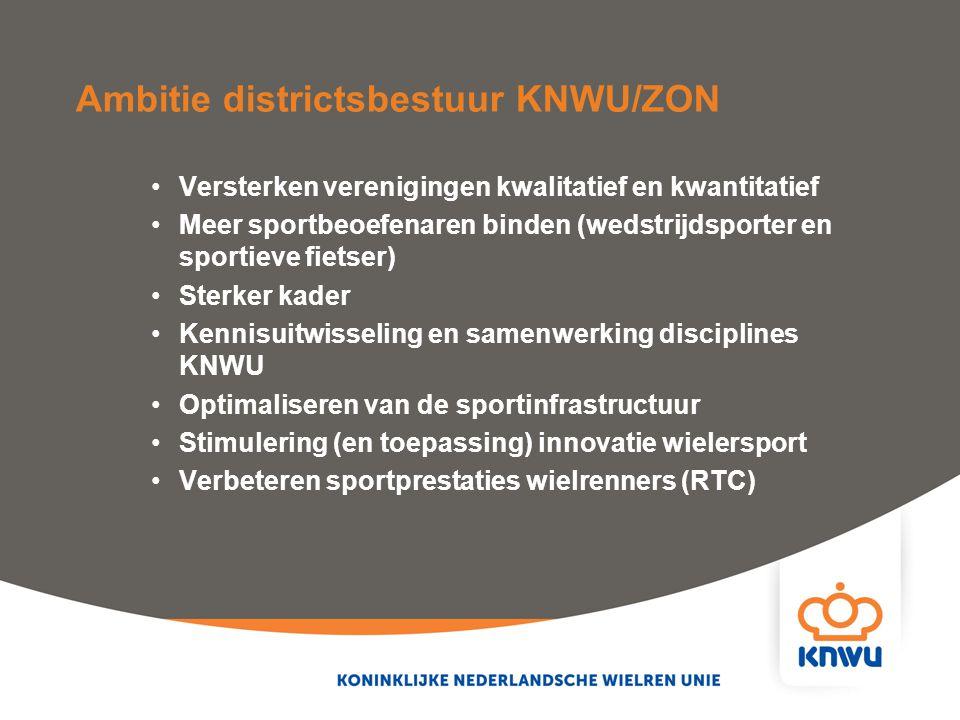 Ambitie districtsbestuur KNWU/ZON Versterken verenigingen kwalitatief en kwantitatief Meer sportbeoefenaren binden (wedstrijdsporter en sportieve fiet