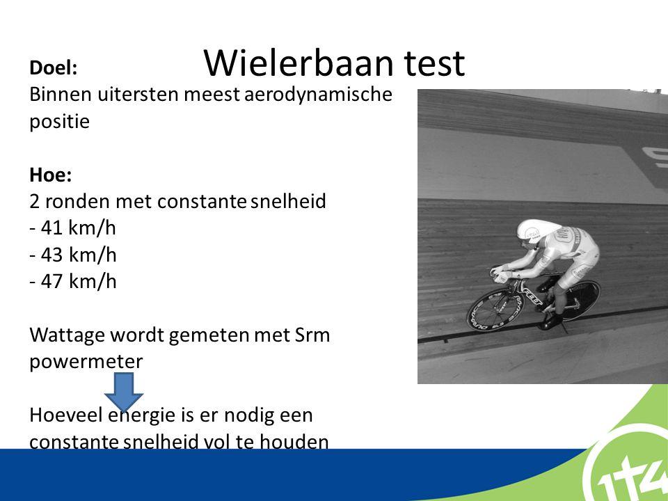 Wielerbaan test Doel: Binnen uitersten meest aerodynamische positie Hoe: 2 ronden met constante snelheid - 41 km/h - 43 km/h - 47 km/h Wattage wordt g