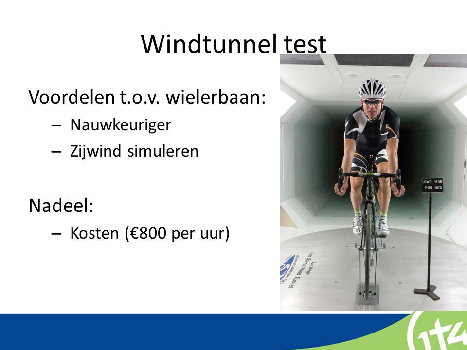 Windtunnel test Voordelen t.o.v. wielerbaan: – Nauwkeuriger – Zijwind simuleren Nadeel: – Kosten (€800 per uur)