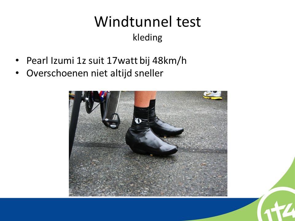 Windtunnel test kleding Pearl Izumi 1z suit 17watt bij 48km/h Overschoenen niet altijd sneller