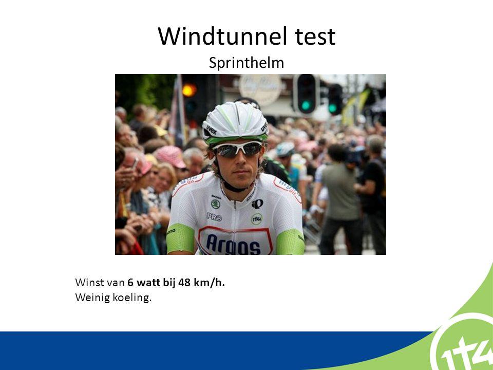 Windtunnel test Sprinthelm Winst van 6 watt bij 48 km/h. Weinig koeling.