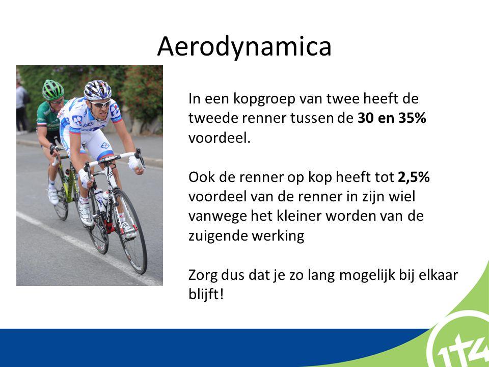 Aerodynamica In een kopgroep van twee heeft de tweede renner tussen de 30 en 35% voordeel. Ook de renner op kop heeft tot 2,5% voordeel van de renner