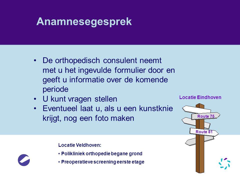 Anamnesegesprek De orthopedisch consulent neemt met u het ingevulde formulier door en geeft u informatie over de komende periode U kunt vragen stellen