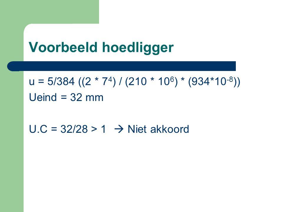 Voorbeeld hoedligger u = 5/384 ((2 * 7 4 ) / (210 * 10 6 ) * (934*10 -8 )) Ueind = 32 mm U.C = 32/28 > 1  Niet akkoord