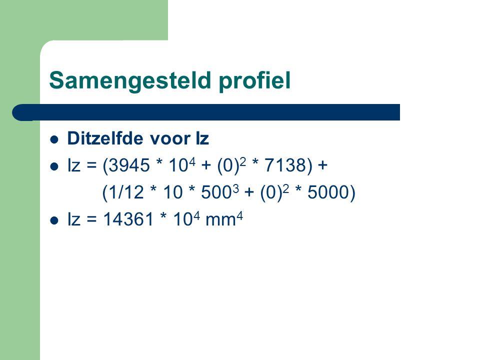 Samengesteld profiel Ditzelfde voor Iz Iz = (3945 * 10 4 + (0) 2 * 7138) + (1/12 * 10 * 500 3 + (0) 2 * 5000) Iz = 14361 * 10 4 mm 4
