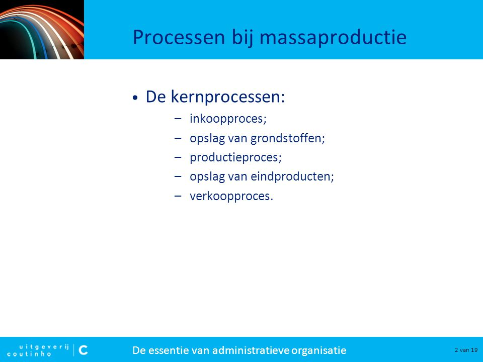 De essentie van administratieve organisatie 3 van 19 Het productieproces Het productieproces wordt onderverdeeld in drie deelprocessen: 1.productievoorbereiding 2.productie-uitvoering 3.productieafsluiting