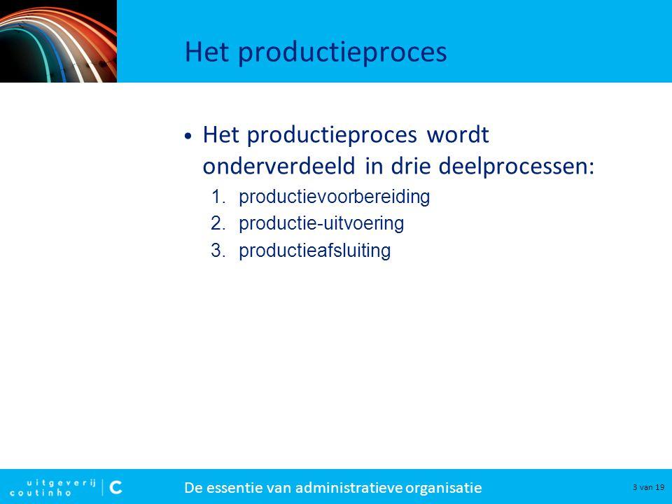 De essentie van administratieve organisatie 14 van 19 Productie-uitvoering 6.
