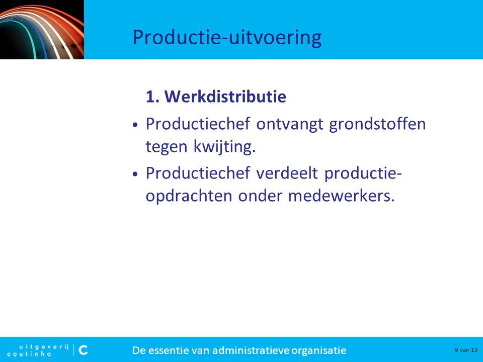 De essentie van administratieve organisatie 10 van 19 Productie-uitvoering 2.
