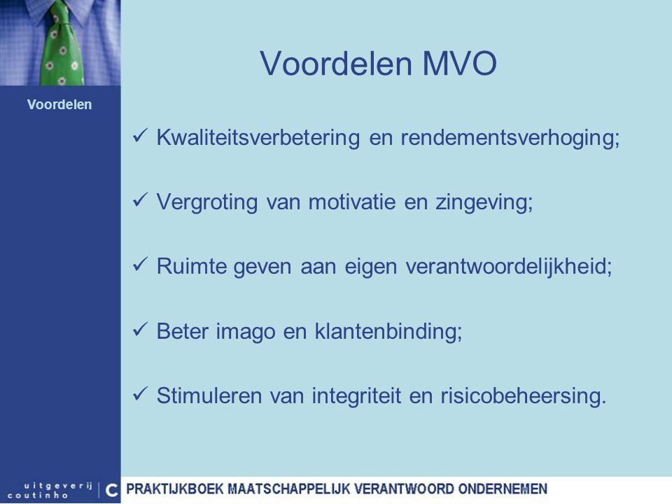 Voordelen MVO Kwaliteitsverbetering en rendementsverhoging; Vergroting van motivatie en zingeving; Ruimte geven aan eigen verantwoordelijkheid; Beter