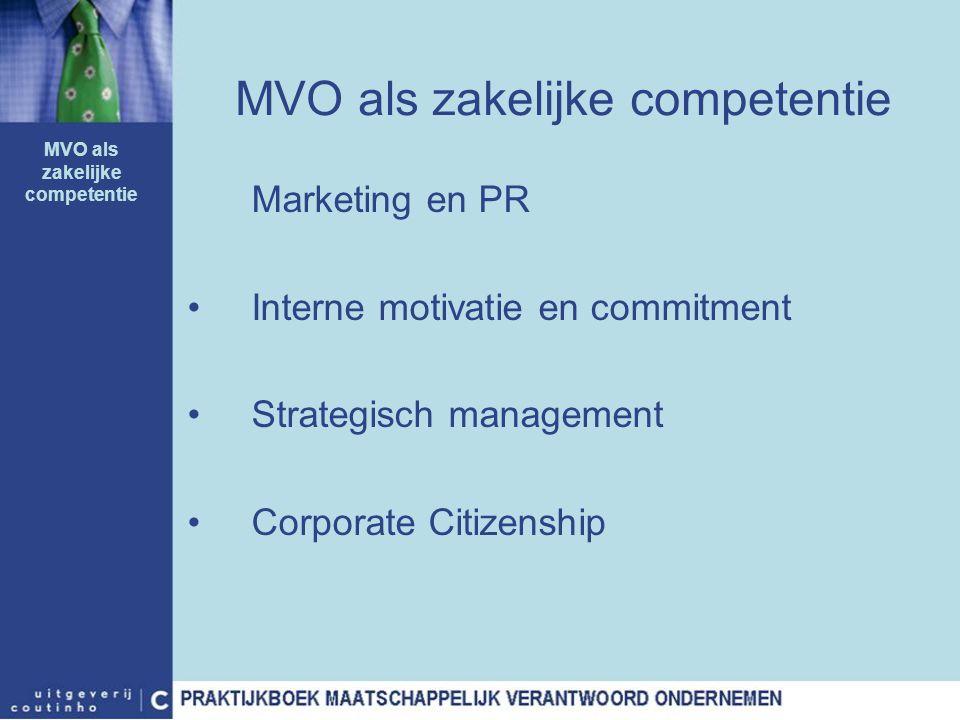 MVO als zakelijke competentie Marketing en PR Interne motivatie en commitment Strategisch management Corporate Citizenship MVO als zakelijke competent
