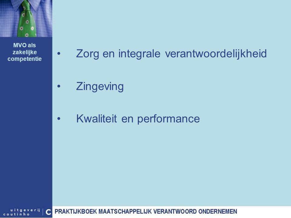 Zorg en integrale verantwoordelijkheid Zingeving Kwaliteit en performance MVO als zakelijke competentie