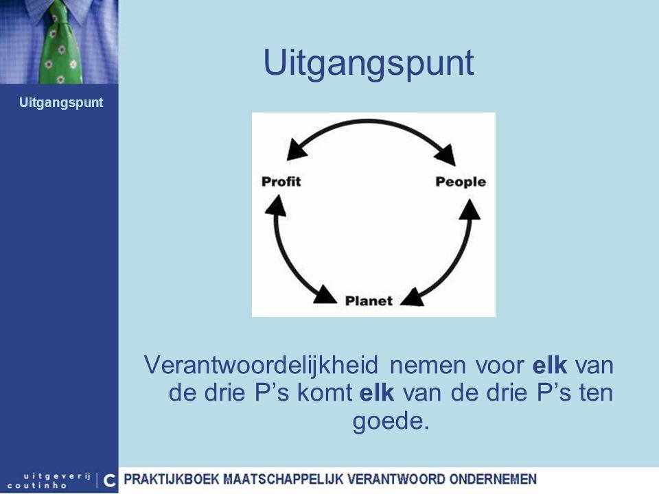 Uitgangspunt Verantwoordelijkheid nemen voor elk van de drie P's komt elk van de drie P's ten goede. Uitgangspunt