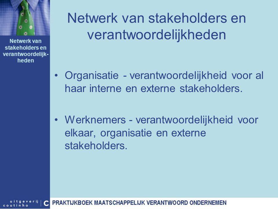 Netwerk van stakeholders en verantwoordelijkheden Organisatie - verantwoordelijkheid voor al haar interne en externe stakeholders. Werknemers - verant