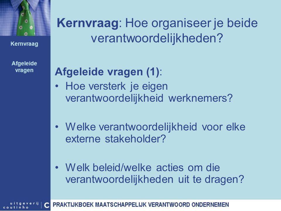 Kernvraag: Hoe organiseer je beide verantwoordelijkheden? Afgeleide vragen (1): Hoe versterk je eigen verantwoordelijkheid werknemers? Welke verantwoo