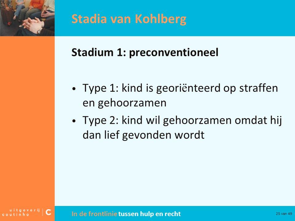 In de frontlinie tussen hulp en recht 25 van 49 Stadia van Kohlberg Stadium 1: preconventioneel Type 1: kind is geori ë nteerd op straffen en gehoorza