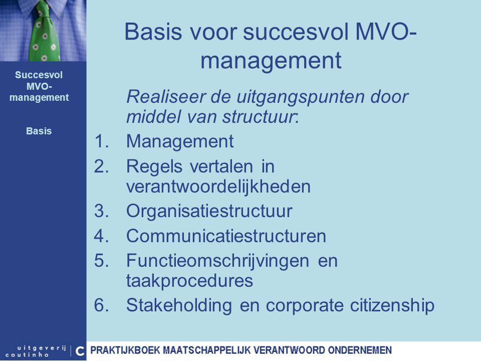 Realiseer de uitgangspunten door middel van structuur: 1.Management 2.Regels vertalen in verantwoordelijkheden 3.Organisatiestructuur 4.Communicatiest