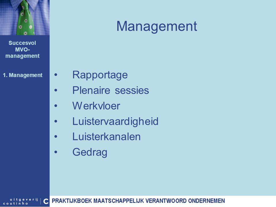 Management Rapportage Plenaire sessies Werkvloer Luistervaardigheid Luisterkanalen Gedrag Succesvol MVO- management 1. Management