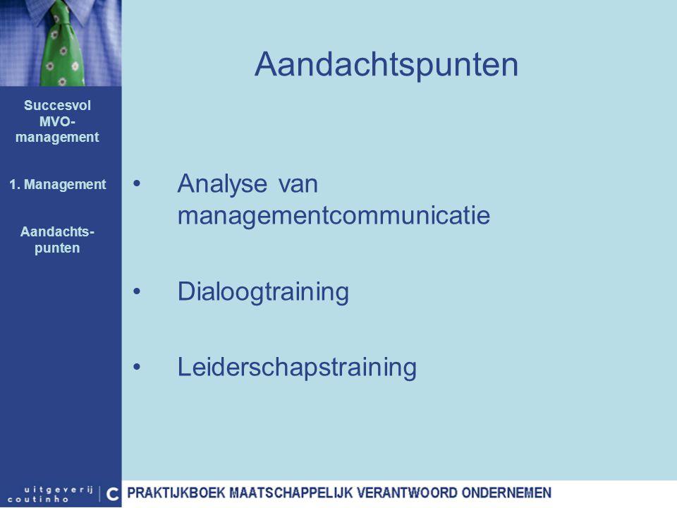Aandachtspunten Analyse van managementcommunicatie Dialoogtraining Leiderschapstraining Succesvol MVO- management 1. Management Aandachts- punten