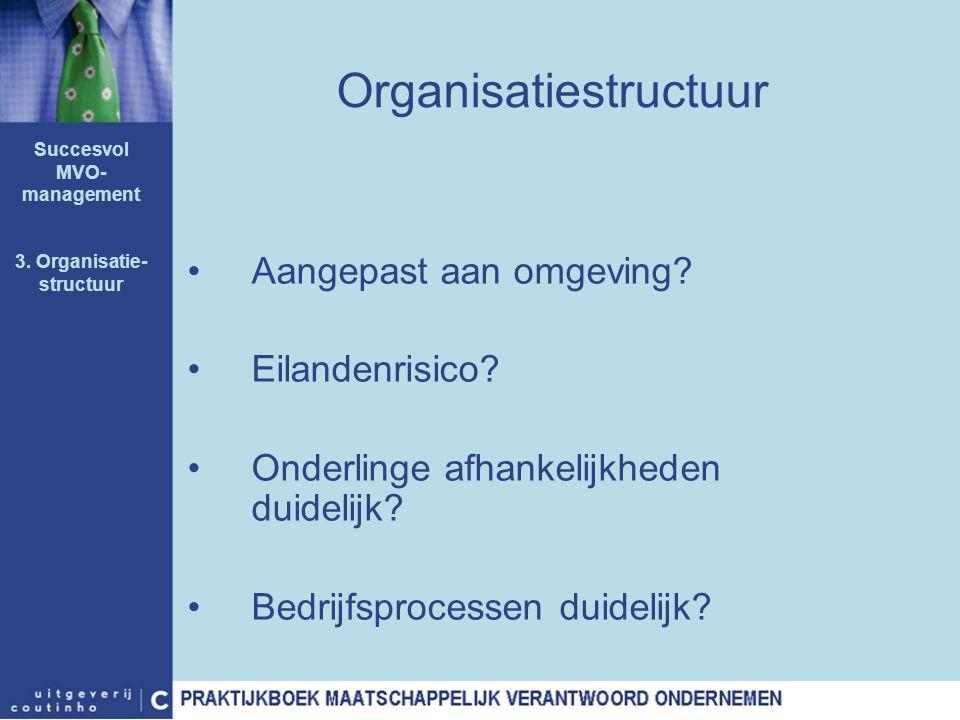 Organisatiestructuur Aangepast aan omgeving? Eilandenrisico? Onderlinge afhankelijkheden duidelijk? Bedrijfsprocessen duidelijk? Succesvol MVO- manage