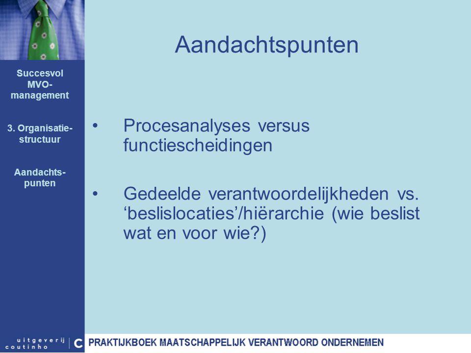 Aandachtspunten Procesanalyses versus functiescheidingen Gedeelde verantwoordelijkheden vs. 'beslislocaties'/hiërarchie (wie beslist wat en voor wie?)