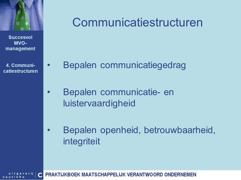 Communicatiestructuren Bepalen communicatiegedrag Bepalen communicatie- en luistervaardigheid Bepalen openheid, betrouwbaarheid, integriteit Succesvol