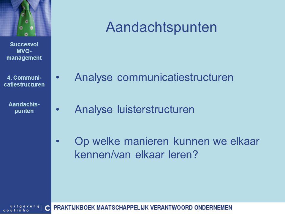Aandachtspunten Analyse communicatiestructuren Analyse luisterstructuren Op welke manieren kunnen we elkaar kennen/van elkaar leren? Succesvol MVO- ma