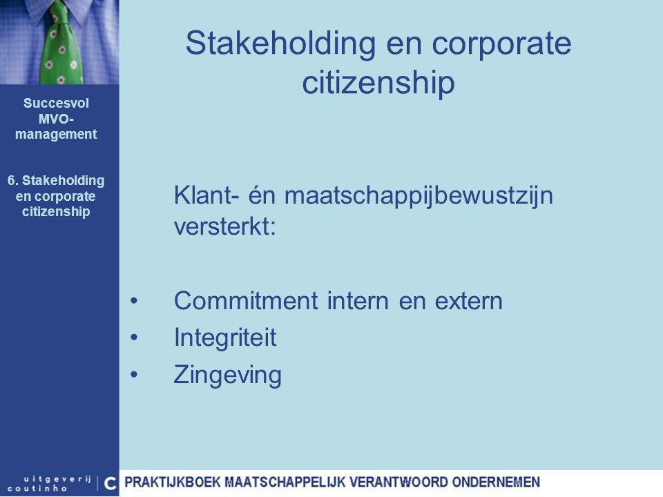 Stakeholding en corporate citizenship Klant- én maatschappijbewustzijn versterkt: Commitment intern en extern Integriteit Zingeving Succesvol MVO- man