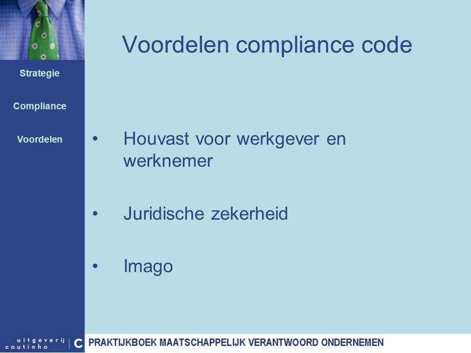 Voordelen compliance code Houvast voor werkgever en werknemer Juridische zekerheid Imago Strategie Compliance Voordelen