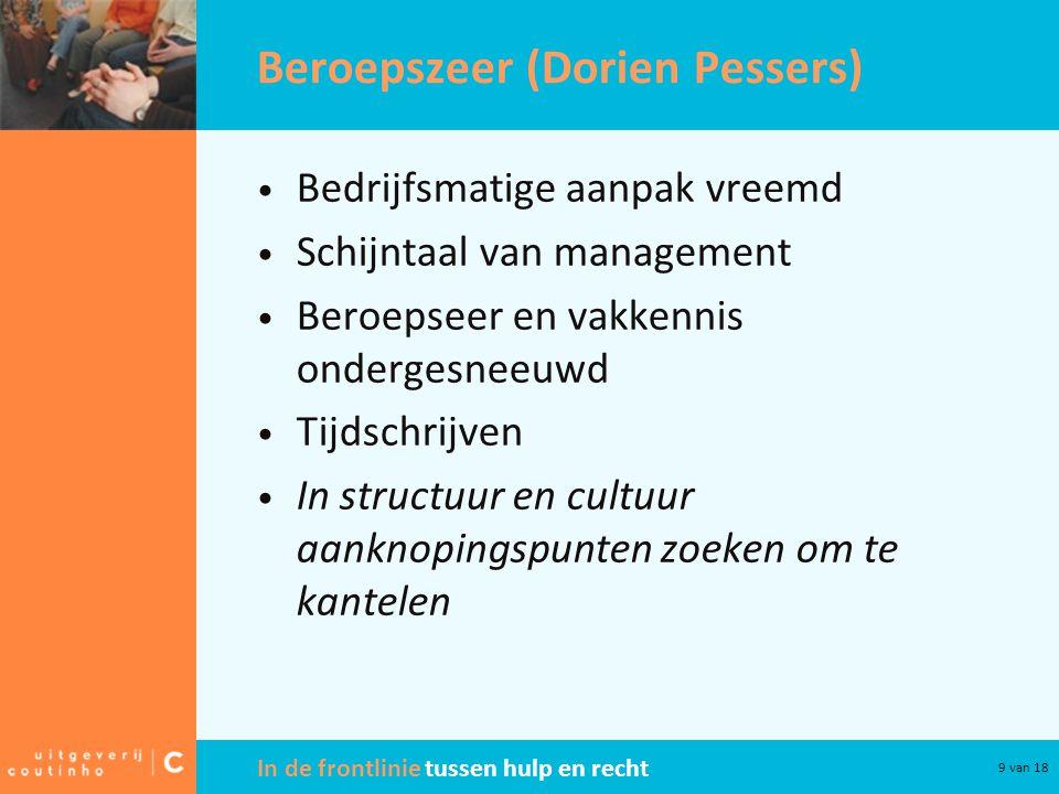 In de frontlinie tussen hulp en recht 9 van 18 Beroepszeer (Dorien Pessers) Bedrijfsmatige aanpak vreemd Schijntaal van management Beroepseer en vakkennis ondergesneeuwd Tijdschrijven In structuur en cultuur aanknopingspunten zoeken om te kantelen