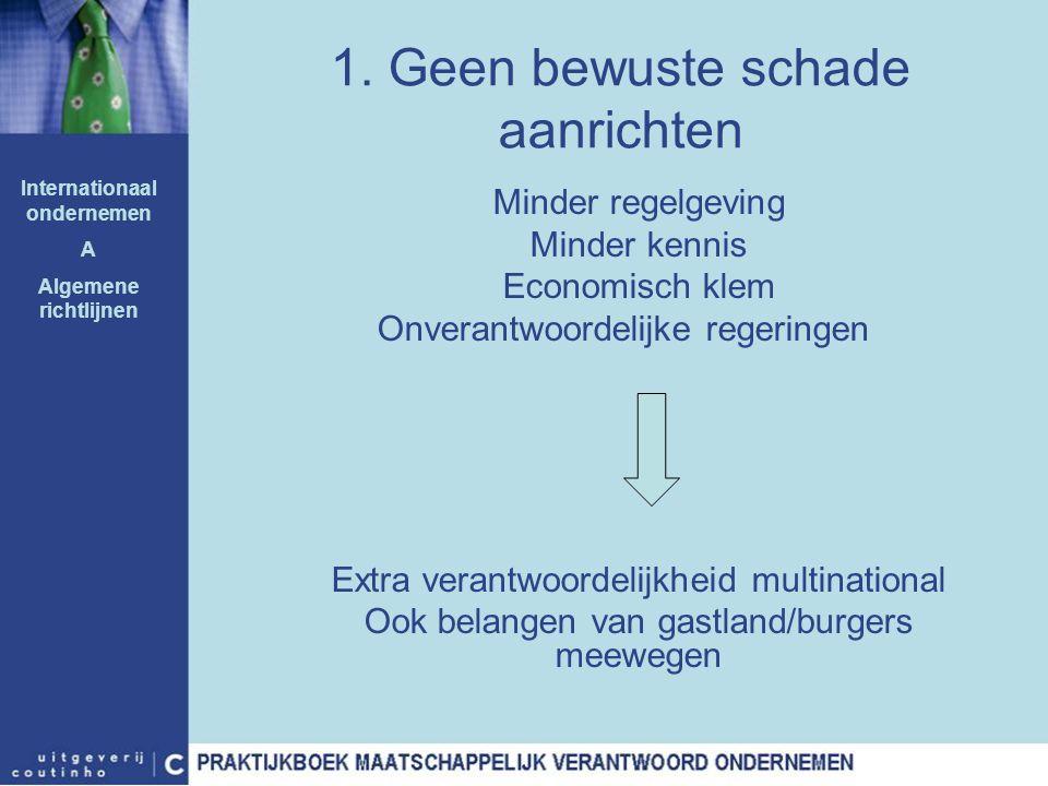1. Geen bewuste schade aanrichten Minder regelgeving Minder kennis Economisch klem Onverantwoordelijke regeringen Extra verantwoordelijkheid multinati