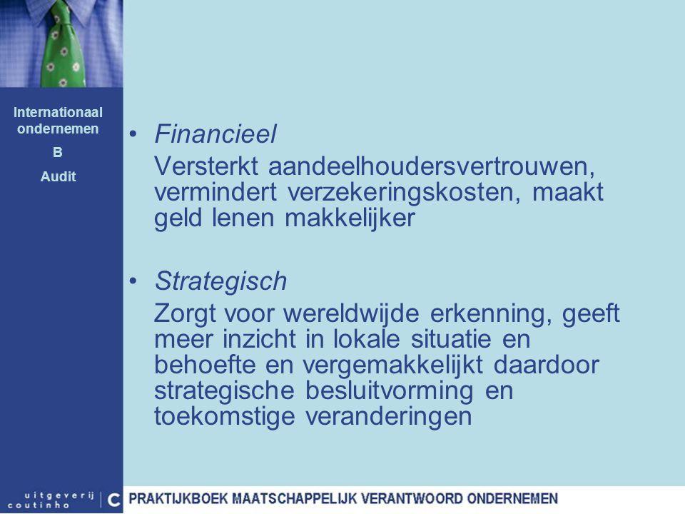 Financieel Versterkt aandeelhoudersvertrouwen, vermindert verzekeringskosten, maakt geld lenen makkelijker Strategisch Zorgt voor wereldwijde erkennin