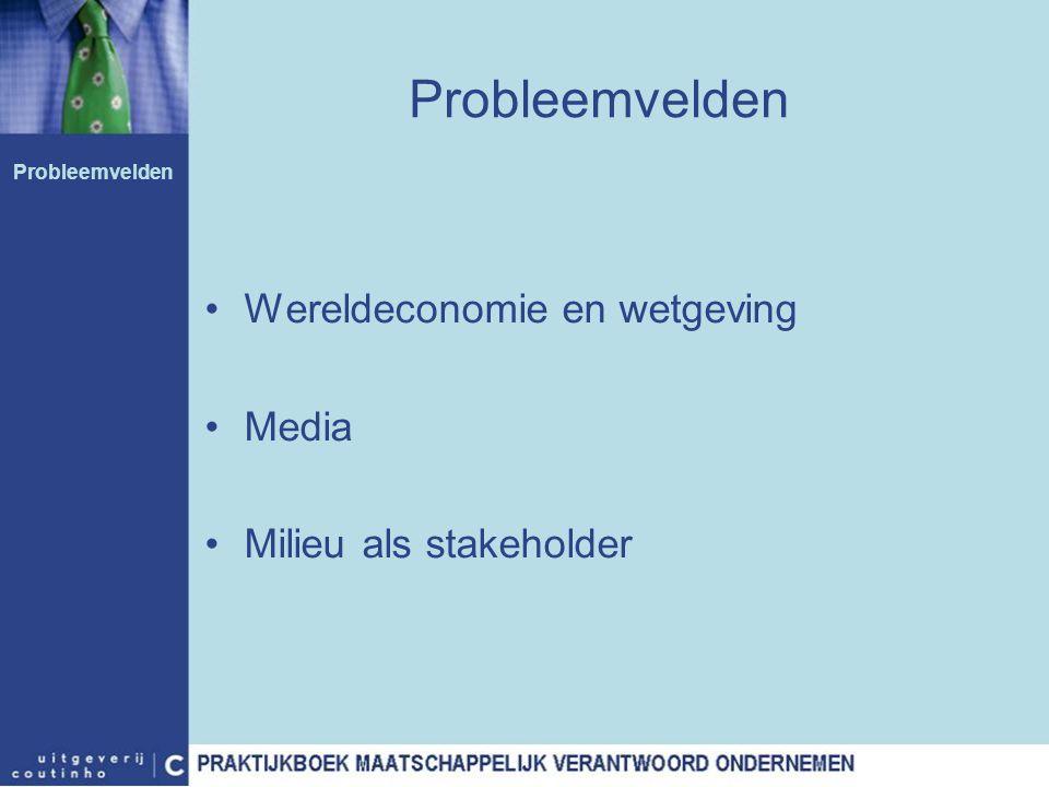 Probleemvelden Wereldeconomie en wetgeving Media Milieu als stakeholder Probleemvelden